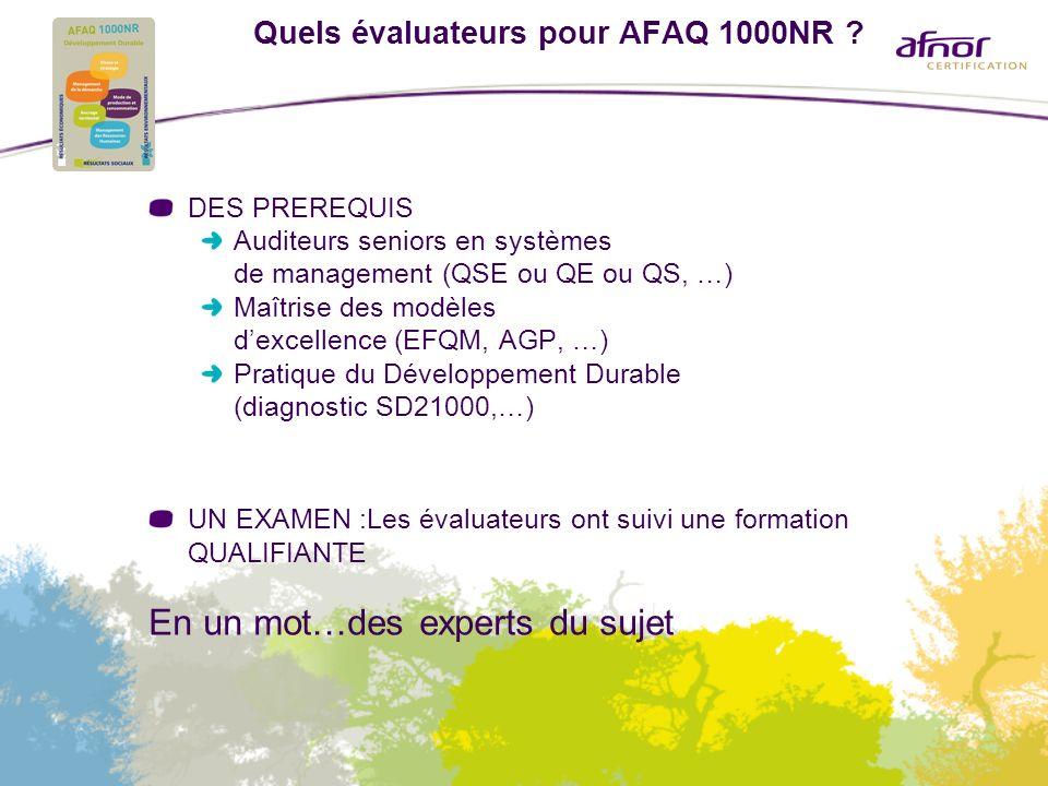 Quels évaluateurs pour AFAQ 1000NR ? DES PREREQUIS Auditeurs seniors en systèmes de management (QSE ou QE ou QS, …) Maîtrise des modèles dexcellence (