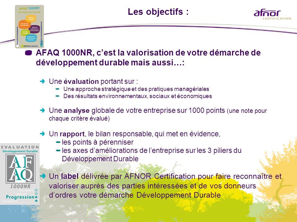 Les objectifs : AFAQ 1000NR, cest la valorisation de votre démarche de développement durable mais aussi…: Une évaluation portant sur : Une approche st