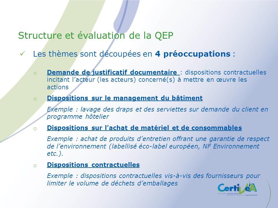 Les thèmes sont découpées en 4 préoccupations : o Demande de justificatif documentaire : dispositions contractuelles incitant lacteur (les acteurs) co