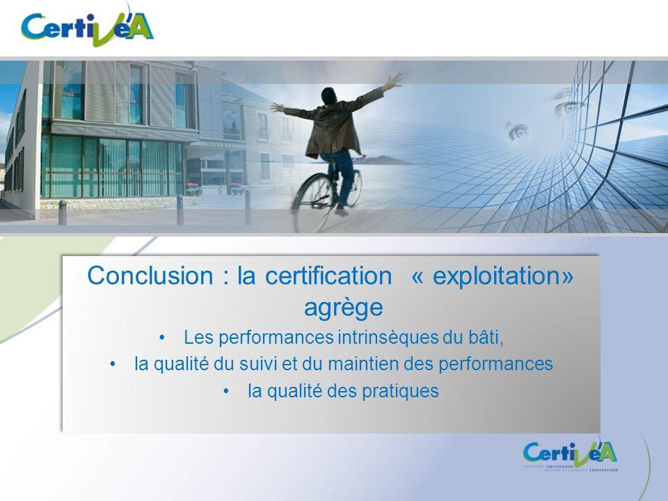 Conclusion : la certification « exploitation» agrège Les performances intrinsèques du bâti, la qualité du suivi et du maintien des performances la qua
