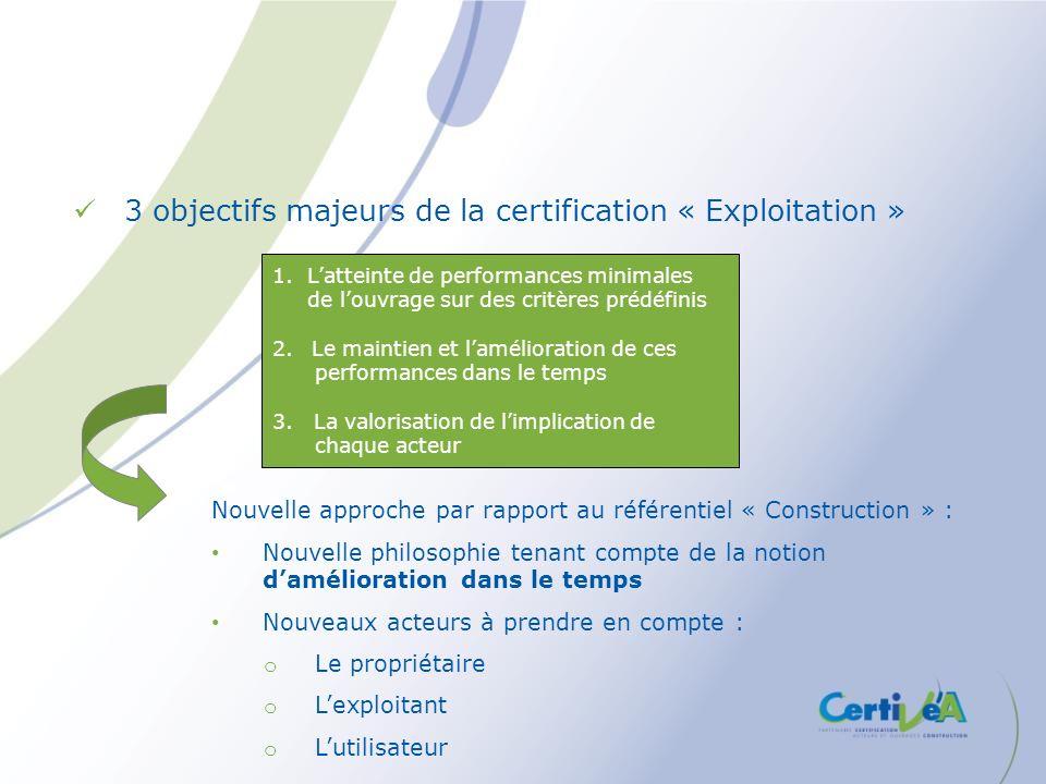 3 objectifs majeurs de la certification « Exploitation » 1. Latteinte de performances minimales de louvrage sur des critères prédéfinis 2.Le maintien