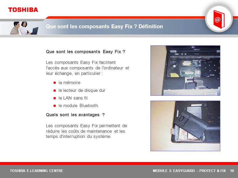 10 TOSHIBA E-LEARNING CENTREMODULE 3: EASYGUARD – PROTECT & FIX Que sont les composants Easy Fix ? Définition Que sont les composants Easy Fix ? Les c