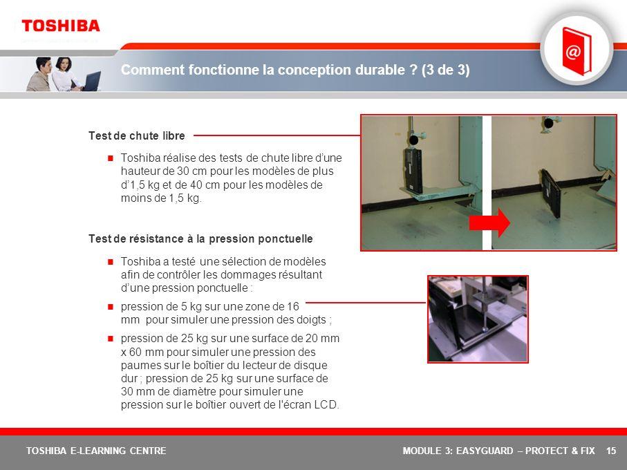15 TOSHIBA E-LEARNING CENTREMODULE 3: EASYGUARD – PROTECT & FIX Comment fonctionne la conception durable ? (3 de 3) Test de chute libre Toshiba réalis