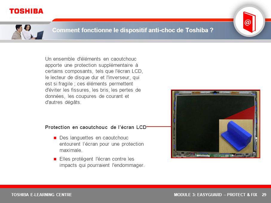 29 TOSHIBA E-LEARNING CENTREMODULE 3: EASYGUARD – PROTECT & FIX Comment fonctionne le dispositif anti-choc de Toshiba ? Un ensemble d'éléments en caou
