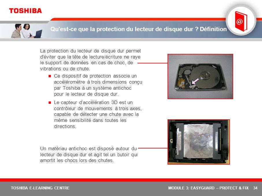 34 TOSHIBA E-LEARNING CENTREMODULE 3: EASYGUARD – PROTECT & FIX Qu'est-ce que la protection du lecteur de disque dur ? Définition La protection du lec