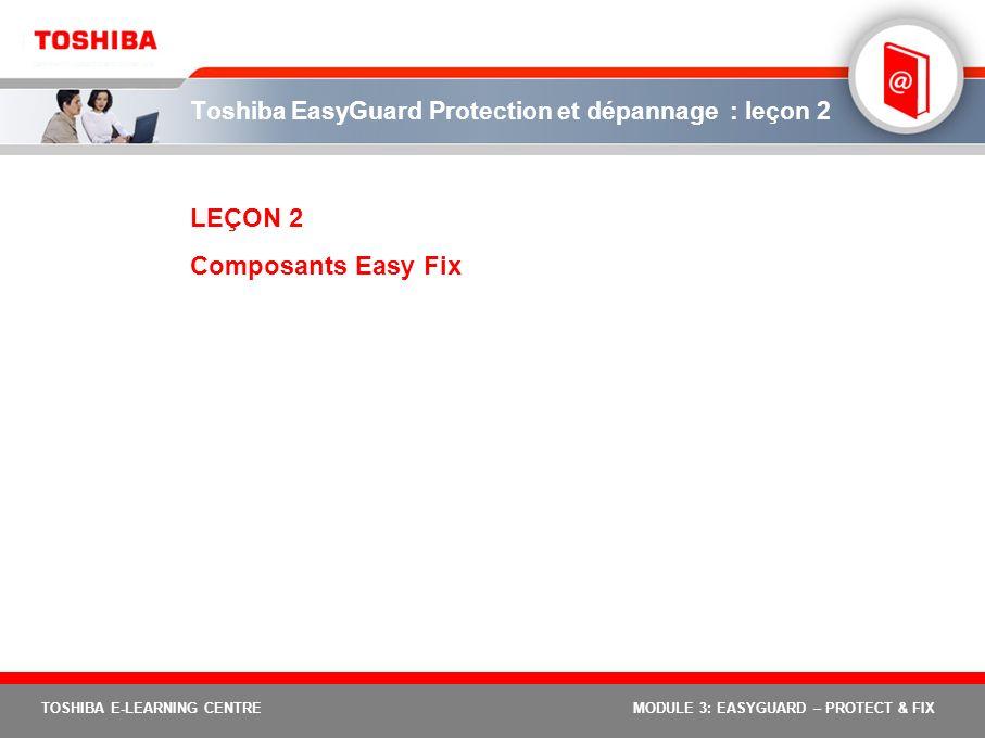 TOSHIBA E-LEARNING CENTREMODULE 3: EASYGUARD – PROTECT & FIX Toshiba EasyGuard Protection et dépannage : leçon 2 LEÇON 2 Composants Easy Fix