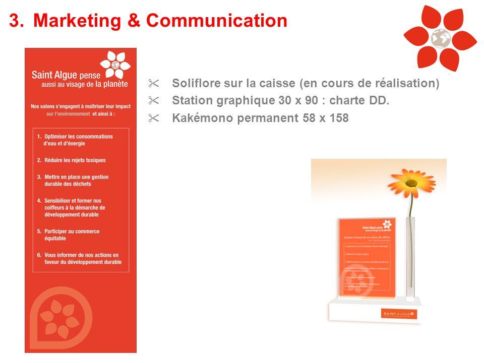 Soliflore sur la caisse (en cours de réalisation) Station graphique 30 x 90 : charte DD. Kakémono permanent 58 x 158 3.Marketing & Communication
