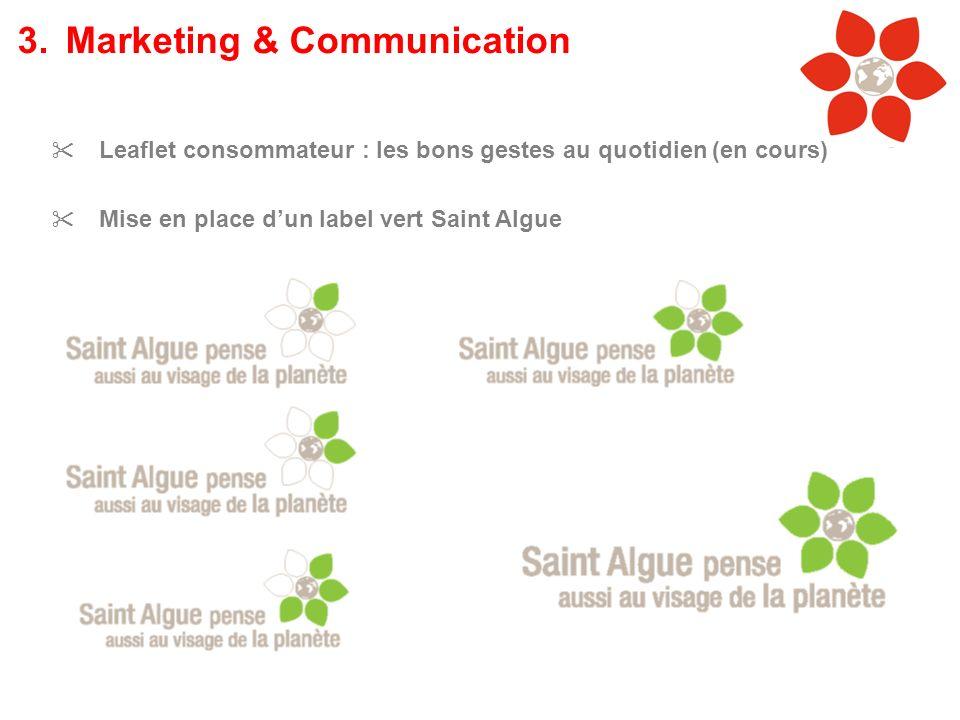 Leaflet consommateur : les bons gestes au quotidien (en cours) Mise en place dun label vert Saint Algue 3.Marketing & Communication