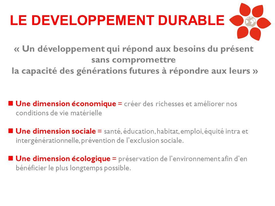 « Un développement qui répond aux besoins du présent sans compromettre la capacité des générations futures à répondre aux leurs » LE DEVELOPPEMENT DUR