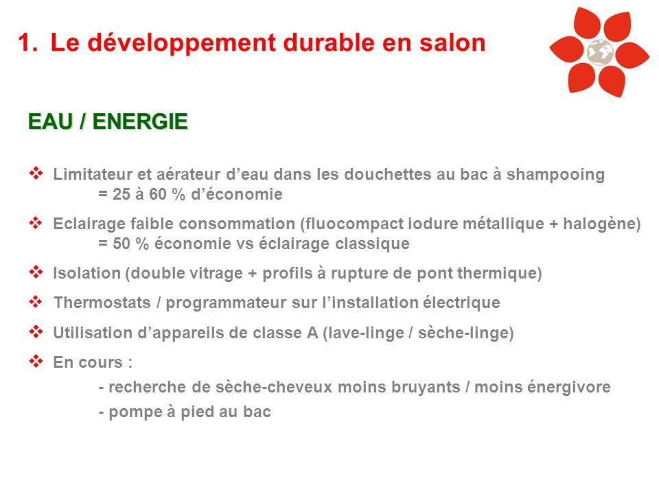 EAU / ENERGIE Limitateur et aérateur deau dans les douchettes au bac à shampooing = 25 à 60 % déconomie Eclairage faible consommation (fluocompact iod