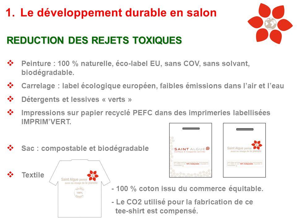 REDUCTION DES REJETS TOXIQUES Peinture : 100 % naturelle, éco-label EU, sans COV, sans solvant, biodégradable. Carrelage : label écologique européen,