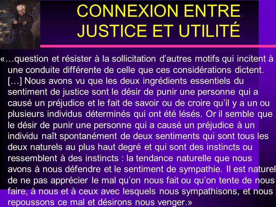 CONNEXION ENTRE JUSTICE ET UTILITÉ.«…question et résister à la sollicitation dautres motifs qui incitent à une conduite différente de celle que ces co