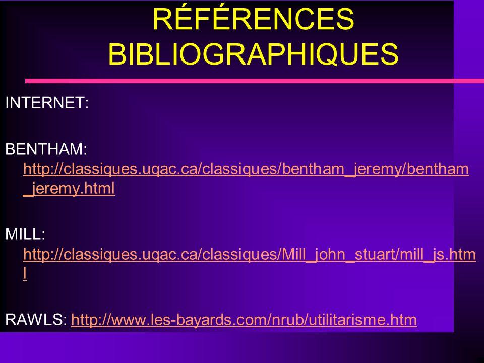 RÉFÉRENCES BIBLIOGRAPHIQUES INTERNET: BENTHAM: http://classiques.uqac.ca/classiques/bentham_jeremy/bentham _jeremy.html http://classiques.uqac.ca/clas