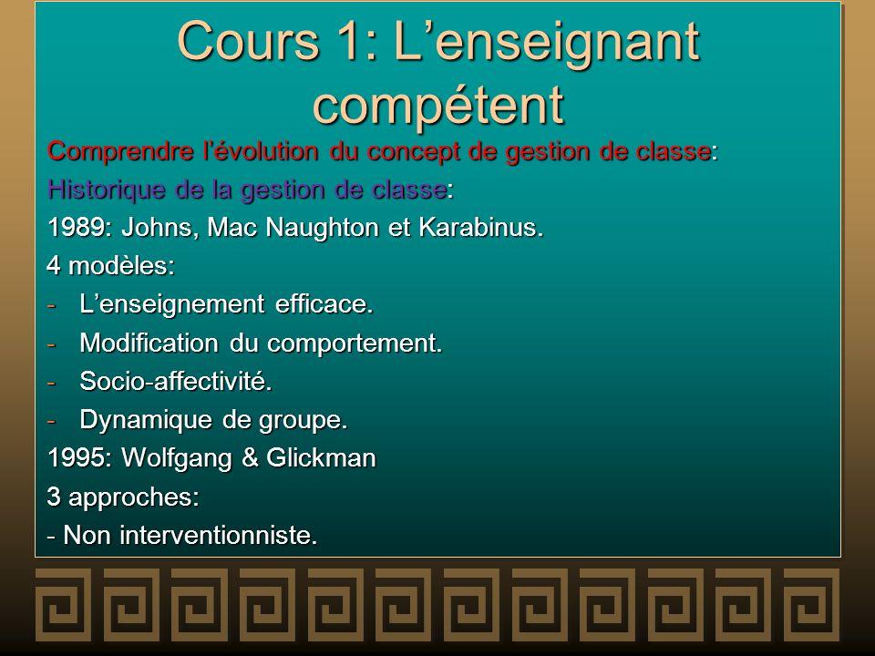 Cours 1: Lenseignant compétent Comprendre lévolution du concept de gestion de classe: Historique de la gestion de classe: 1989: Johns, Mac Naughton et