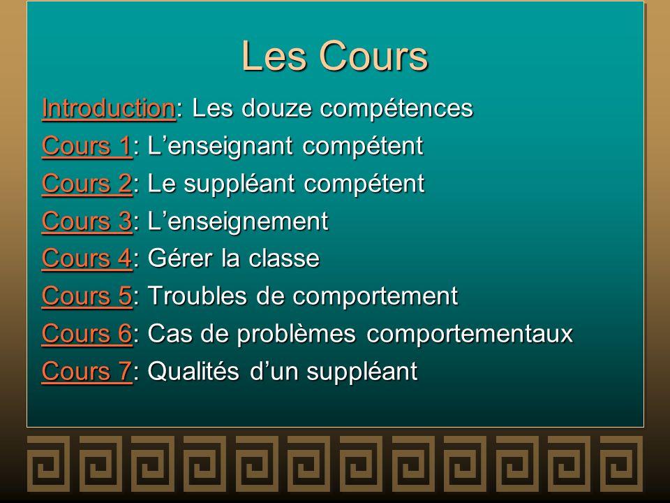 Les Cours IntroductionIntroduction: Les douze compétences Introduction Cours 1Cours 1: Lenseignant compétent Cours 1 Cours 2Cours 2: Le suppléant comp