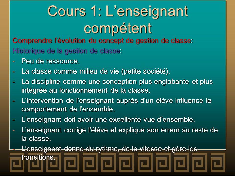 Cours 1: Lenseignant compétent Comprendre lévolution du concept de gestion de classe: Historique de la gestion de classe: -Peu de ressource. -La class