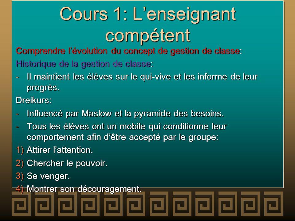 Cours 1: Lenseignant compétent Comprendre lévolution du concept de gestion de classe: Historique de la gestion de classe: -Il maintient les élèves sur