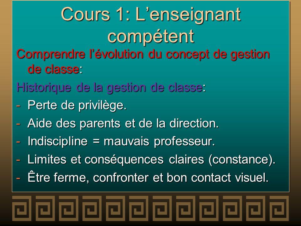 Cours 1: Lenseignant compétent Comprendre lévolution du concept de gestion de classe: Historique de la gestion de classe: -Perte de privilège. -Aide d