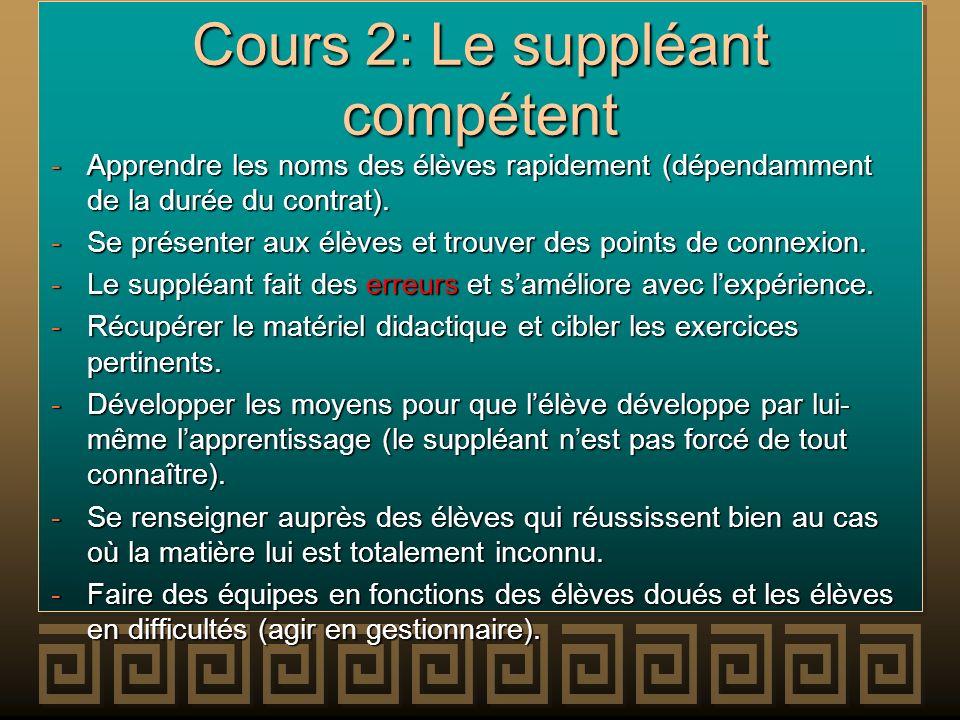 Cours 2: Le suppléant compétent -Apprendre les noms des élèves rapidement (dépendamment de la durée du contrat). -Se présenter aux élèves et trouver d