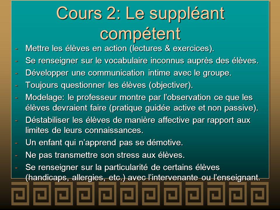 Cours 2: Le suppléant compétent -Mettre les élèves en action (lectures & exercices). -Se renseigner sur le vocabulaire inconnus auprès des élèves. -Dé