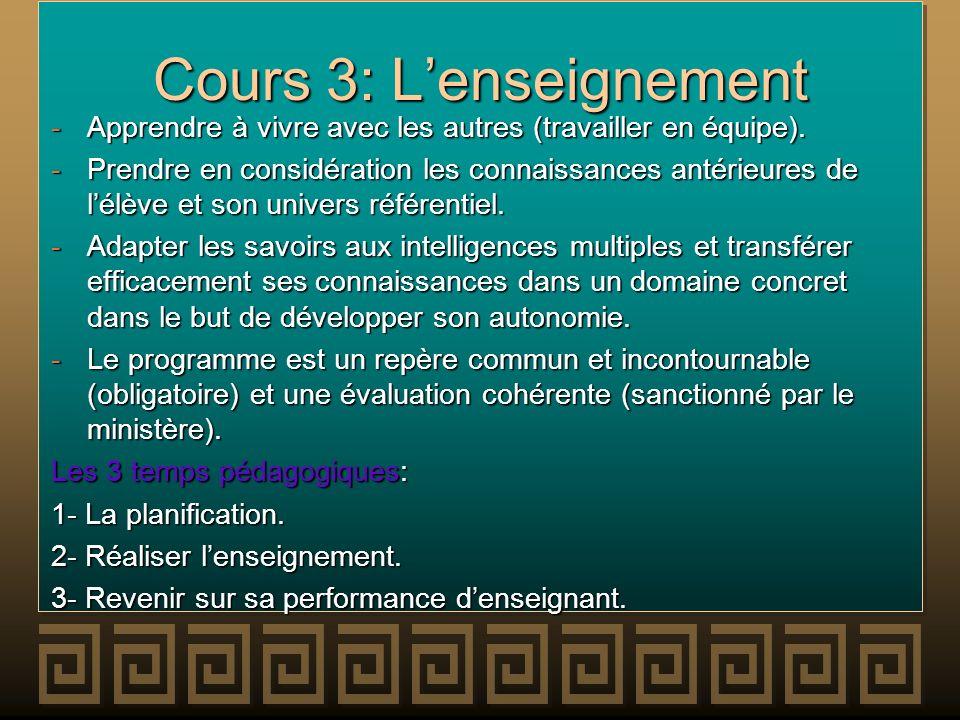 Cours 3: Lenseignement -Apprendre à vivre avec les autres (travailler en équipe). -Prendre en considération les connaissances antérieures de lélève et