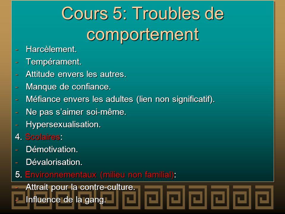 Cours 5: Troubles de comportement -Harcèlement. -Tempérament. -Attitude envers les autres. -Manque de confiance. -Méfiance envers les adultes (lien no