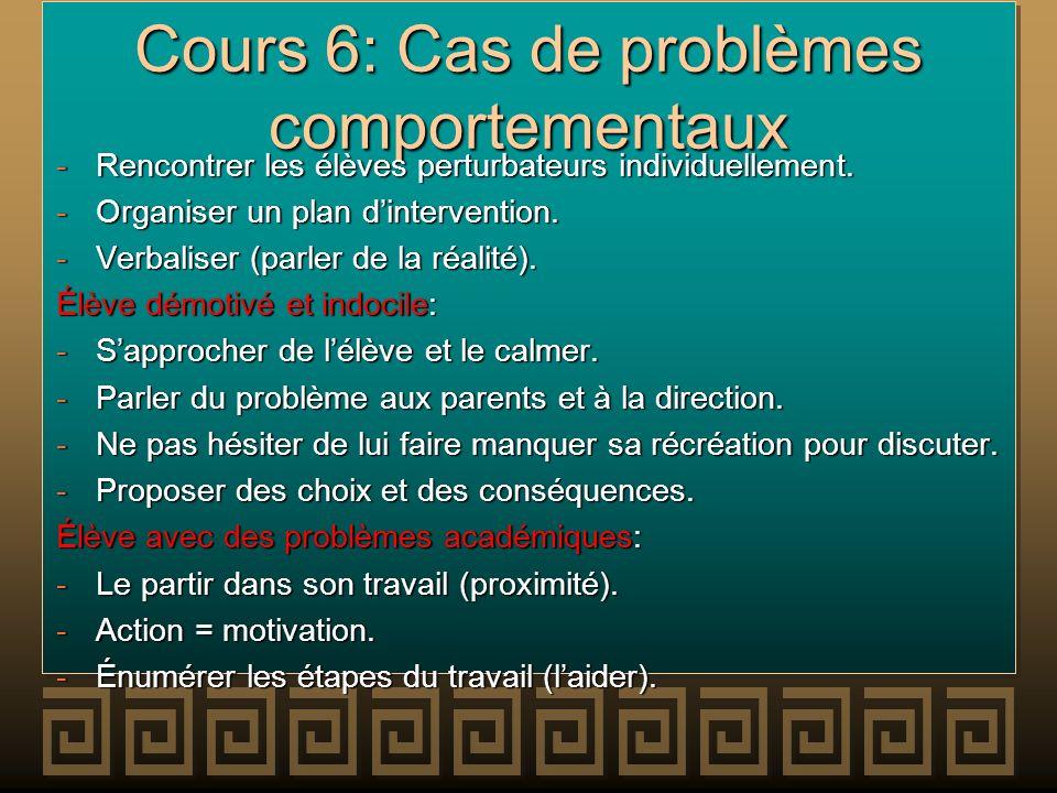Cours 6: Cas de problèmes comportementaux -Rencontrer les élèves perturbateurs individuellement. -Organiser un plan dintervention. -Verbaliser (parler