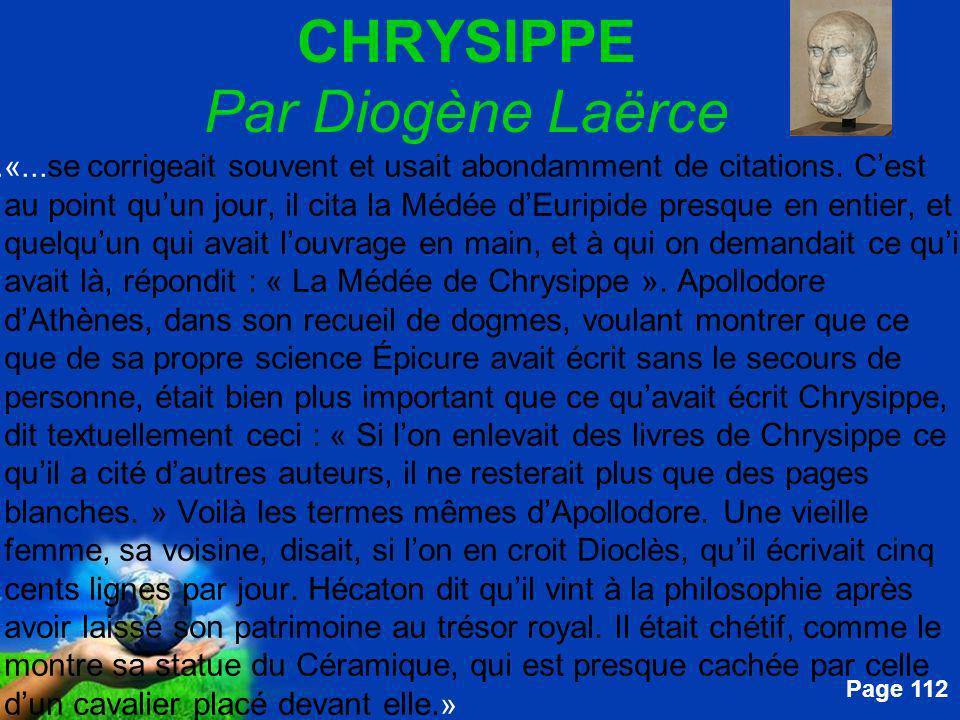 Free Powerpoint Templates Page 112 CHRYSIPPE Par Diogène Laërce....«...