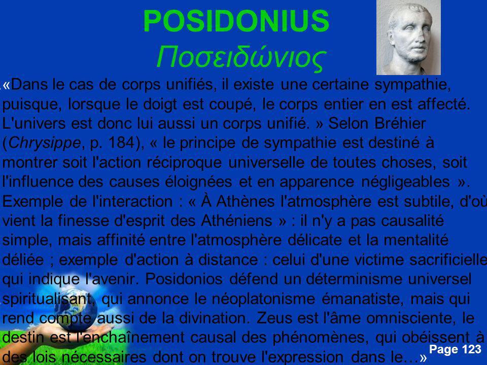 Free Powerpoint Templates Page 123 POSIDONIUS Ποσειδώνιος....« Dans le cas de corps unifiés, il existe une certaine sympathie, puisque, lorsque le doi