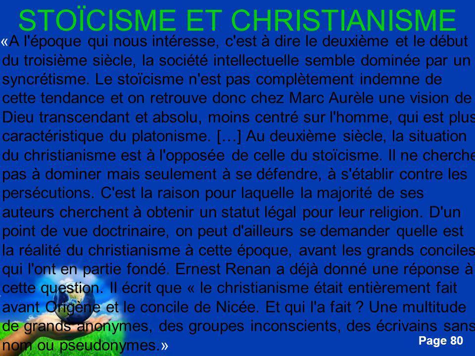 Free Powerpoint Templates Page 80 STOÏCISME ET CHRISTIANISME …«A l'époque qui nous intéresse, c'est à dire le deuxième et le début du troisième siècle