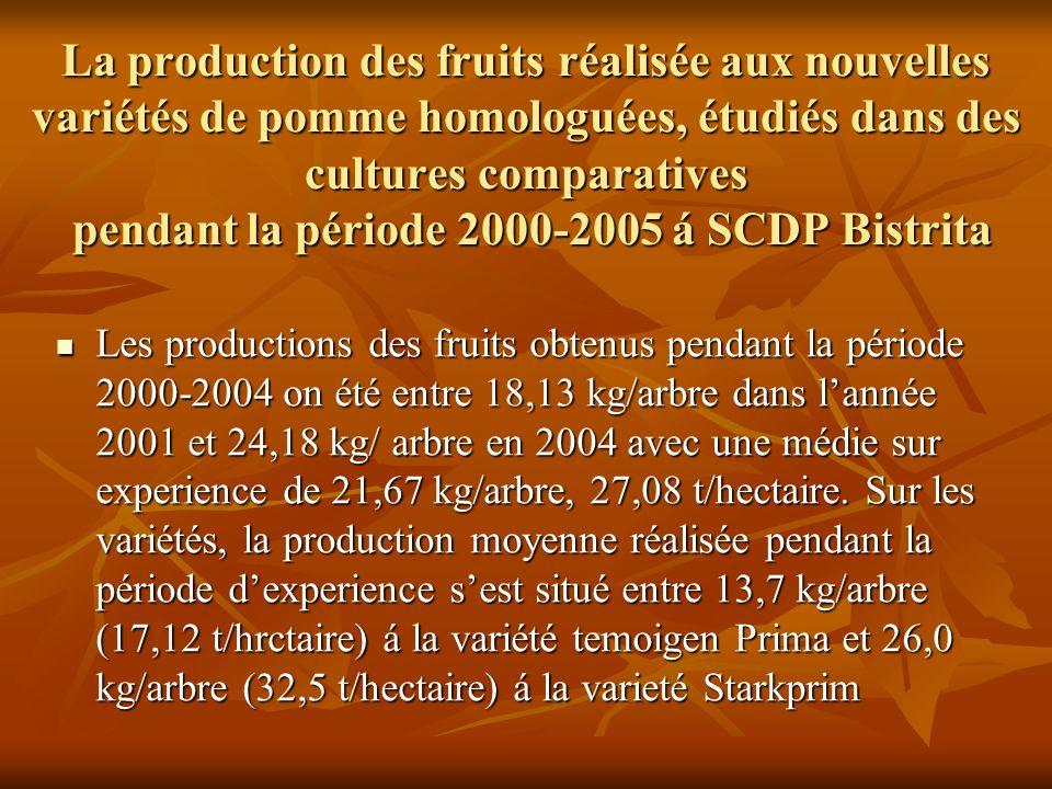 La production des fruits réalisée aux nouvelles variétés de pomme homologuées, étudiés dans des cultures comparatives pendant la période 2000-2005 á SCDP Bistrita Les productions des fruits obtenus pendant la période 2000-2004 on été entre 18,13 kg/arbre dans lannée 2001 et 24,18 kg/ arbre en 2004 avec une médie sur experience de 21,67 kg/arbre, 27,08 t/hectaire.