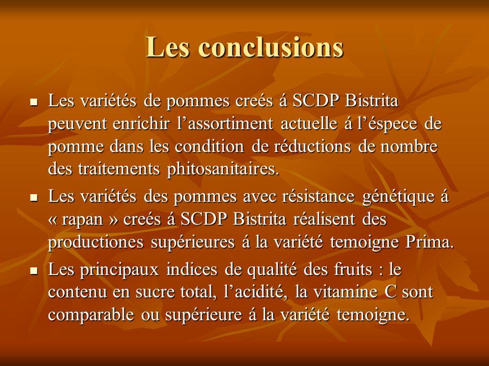 Les conclusions Les variétés de pommes creés á SCDP Bistrita peuvent enrichir lassortiment actuelle á léspece de pomme dans les condition de réductions de nombre des traitements phitosanitaires.