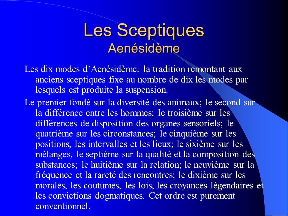 Les Sceptiques Aenésidème Les dix modes dAenésidème: la tradition remontant aux anciens sceptiques fixe au nombre de dix les modes par lesquels est pr