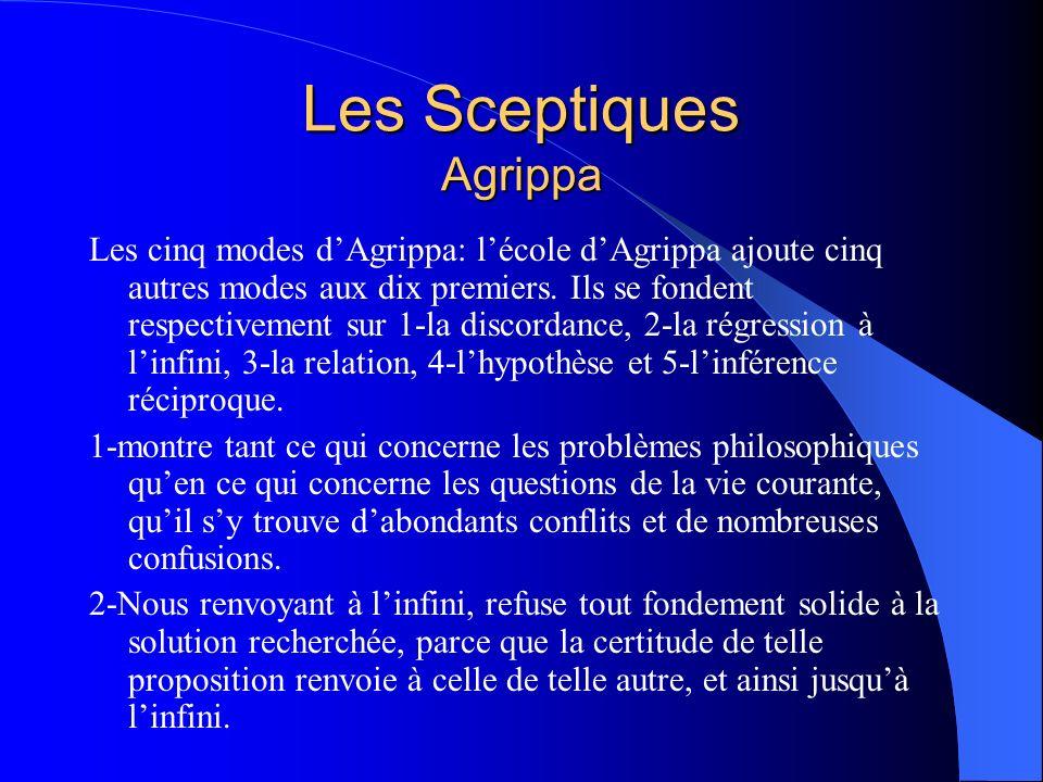 Les Sceptiques Agrippa Les cinq modes dAgrippa: lécole dAgrippa ajoute cinq autres modes aux dix premiers. Ils se fondent respectivement sur 1-la disc