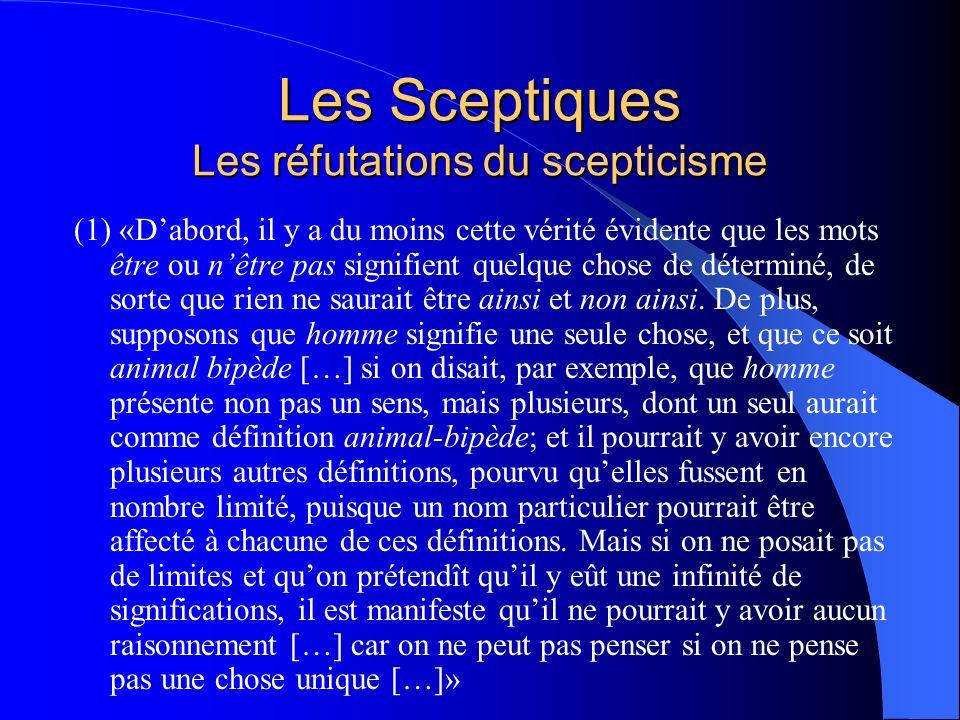 Les Sceptiques Les réfutations du scepticisme (1) «Dabord, il y a du moins cette vérité évidente que les mots être ou nêtre pas signifient quelque cho