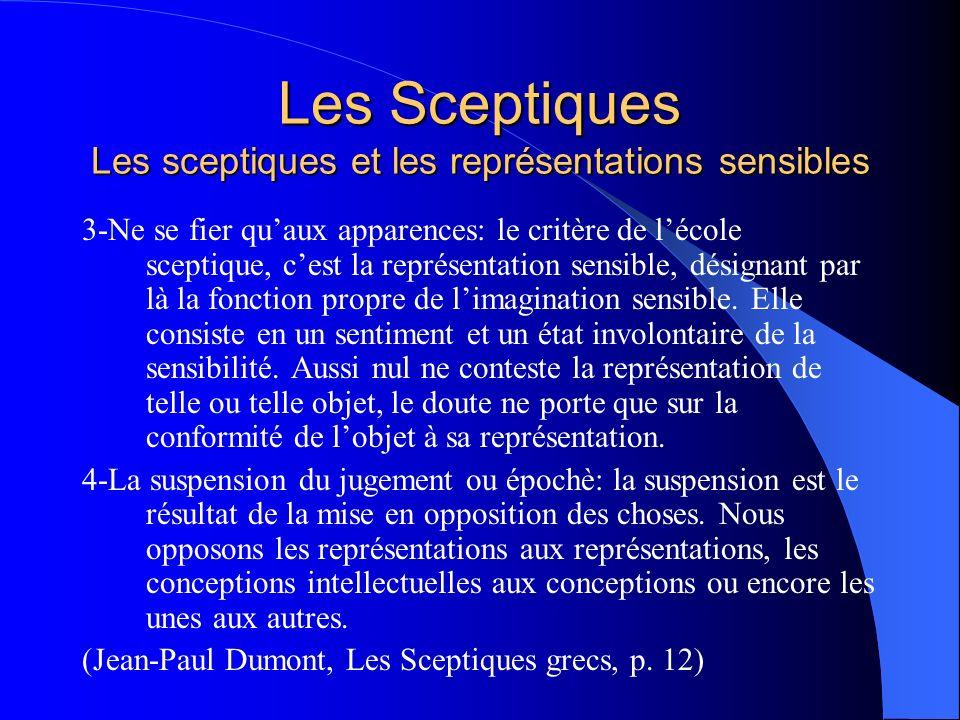 Les Sceptiques Les sceptiques et les représentations sensibles 3-Ne se fier quaux apparences: le critère de lécole sceptique, cest la représentation s