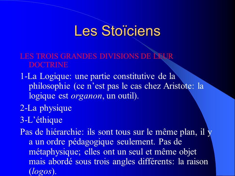 Les Stoïciens LES TROIS GRANDES DIVISIONS DE LEUR DOCTRINE 1-La Logique: une partie constitutive de la philosophie (ce nest pas le cas chez Aristote: