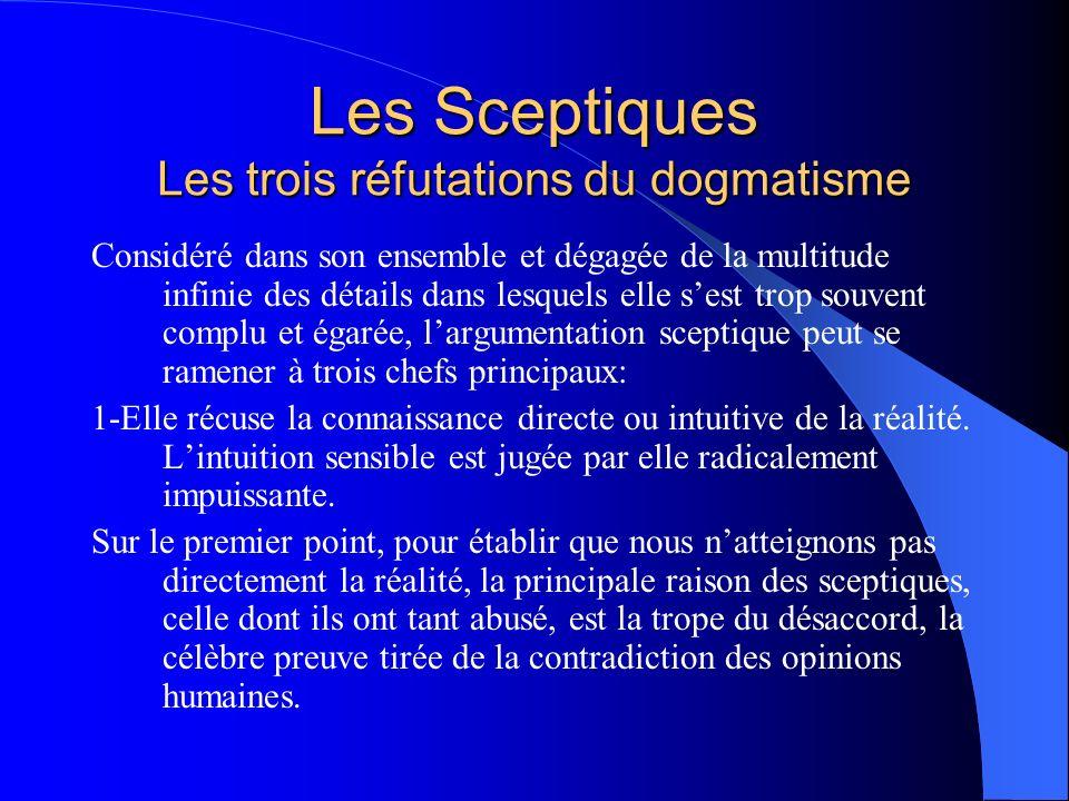 Les Sceptiques Les trois réfutations du dogmatisme 2-Elle récuse la connaissance indirecte de la réalité, soit par le raisonnement proprement dit, soit par le principe de causalité.
