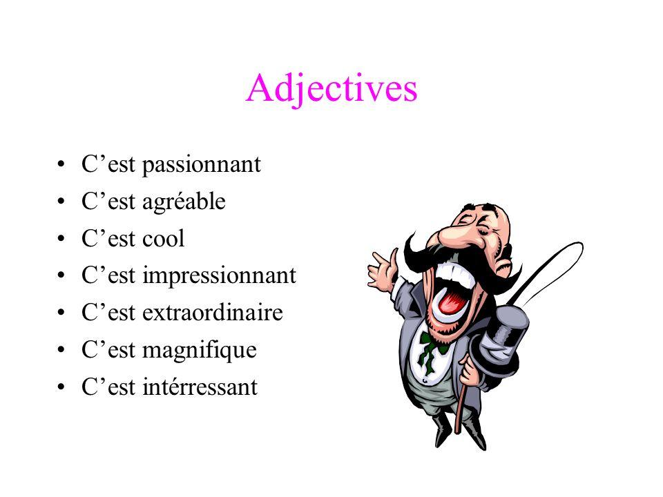 Adjectives Cest passionnant Cest agréable Cest cool Cest impressionnant Cest extraordinaire Cest magnifique Cest intérressant