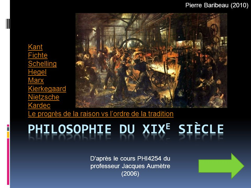 Kant Fichte Schelling Hegel Marx Kierkegaard Nietzsche Kardec Le progrès de la raison vs lordre de la tradition Daprès le cours PHI4254 du professeur