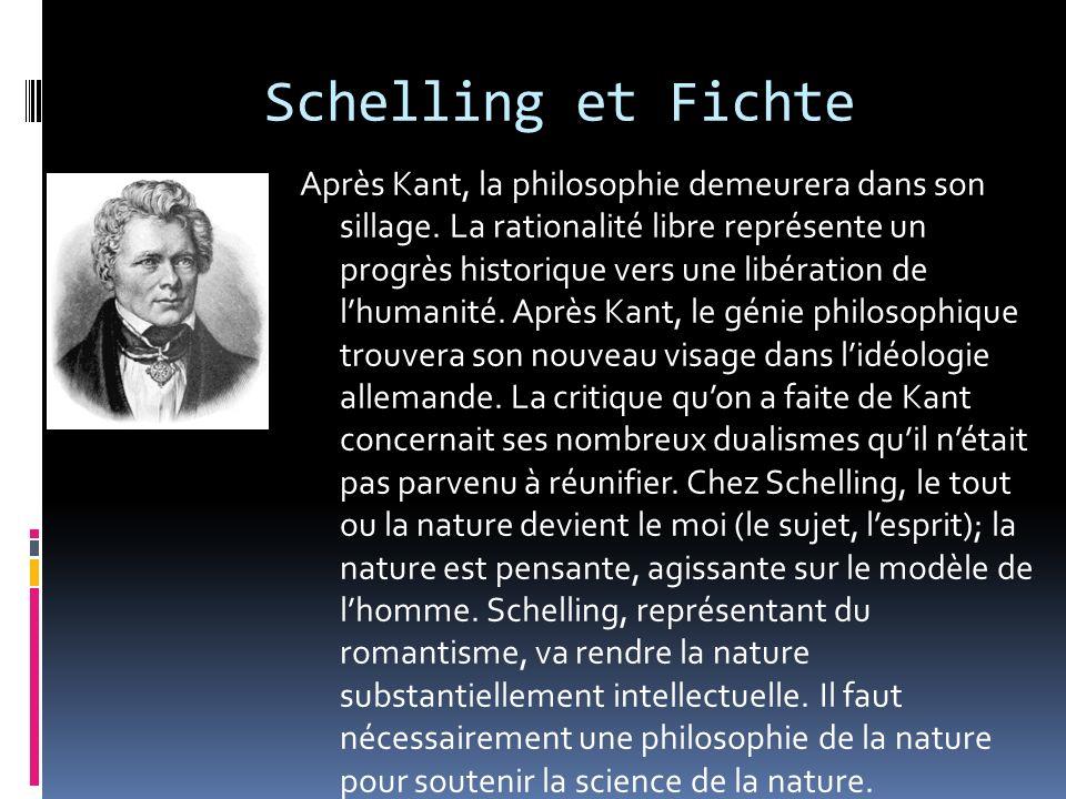 Schelling et Fichte Après Kant, la philosophie demeurera dans son sillage. La rationalité libre représente un progrès historique vers une libération d