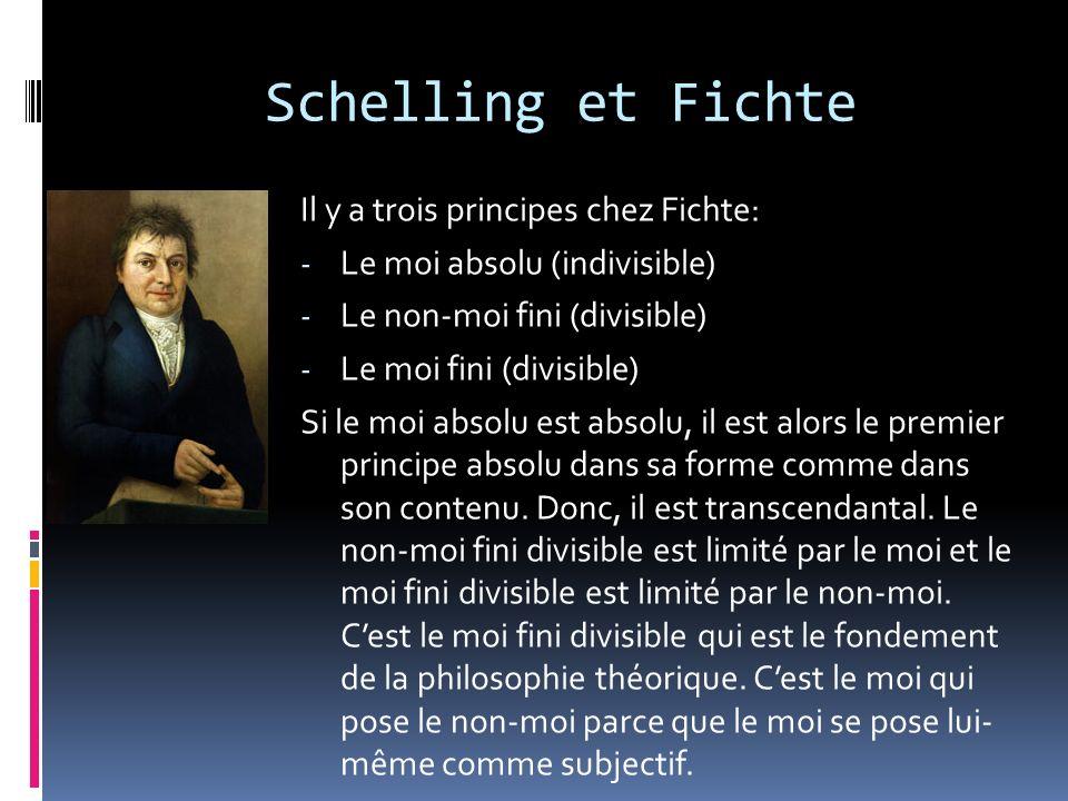 Schelling et Fichte Il y a trois principes chez Fichte: - Le moi absolu (indivisible) - Le non-moi fini (divisible) - Le moi fini (divisible) Si le mo