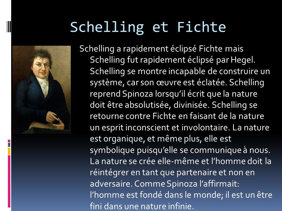 Schelling et Fichte Schelling a rapidement éclipsé Fichte mais Schelling fut rapidement éclipsé par Hegel. Schelling se montre incapable de construire