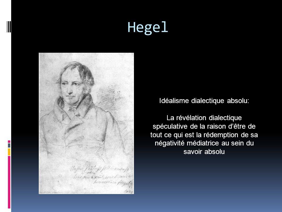 Hegel Idéalisme dialectique absolu: La révélation dialectique spéculative de la raison dêtre de tout ce qui est la rédemption de sa négativité médiatr