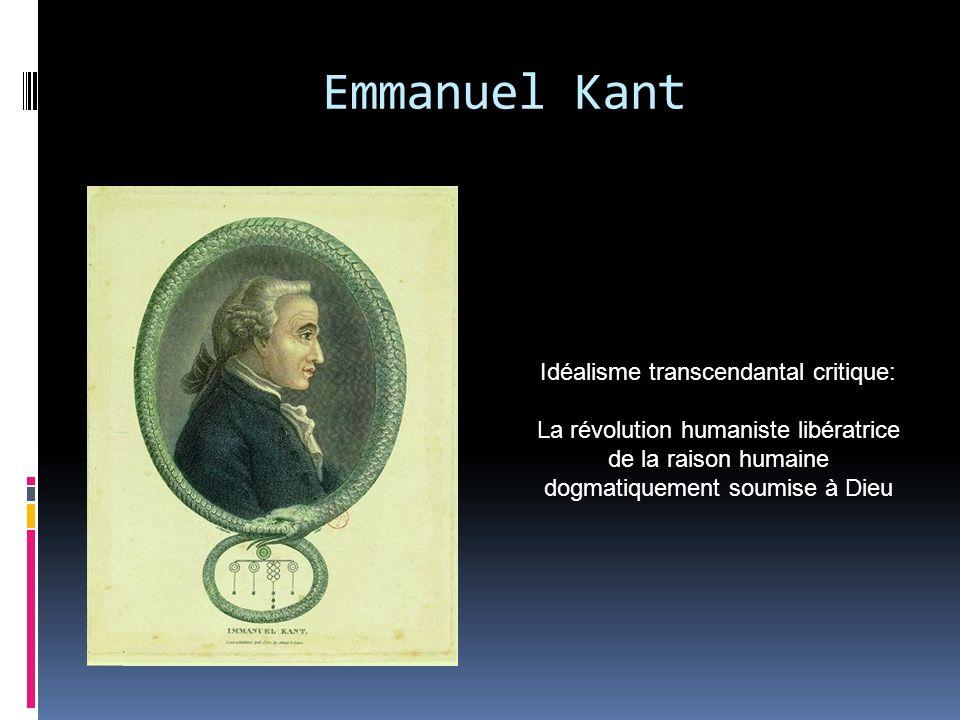 Emmanuel Kant Idéalisme transcendantal critique: La révolution humaniste libératrice de la raison humaine dogmatiquement soumise à Dieu
