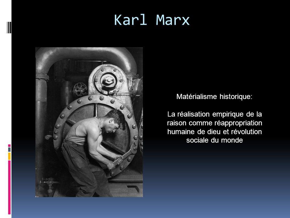 Karl Marx Matérialisme historique: La réalisation empirique de la raison comme réappropriation humaine de dieu et révolution sociale du monde