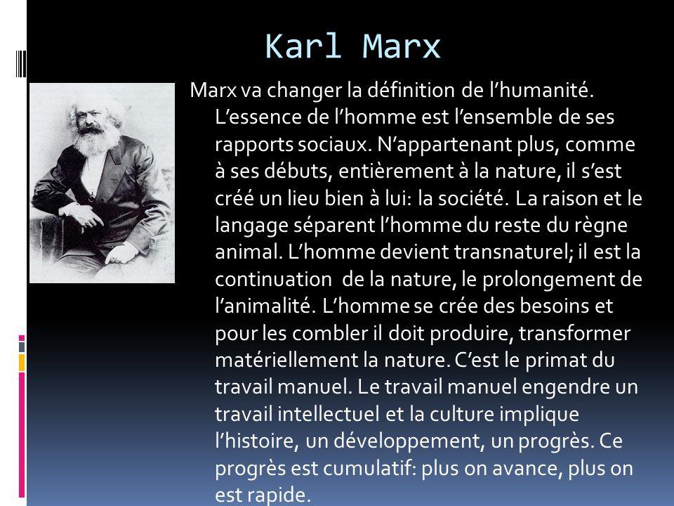 Karl Marx Marx va changer la définition de lhumanité. Lessence de lhomme est lensemble de ses rapports sociaux. Nappartenant plus, comme à ses débuts,