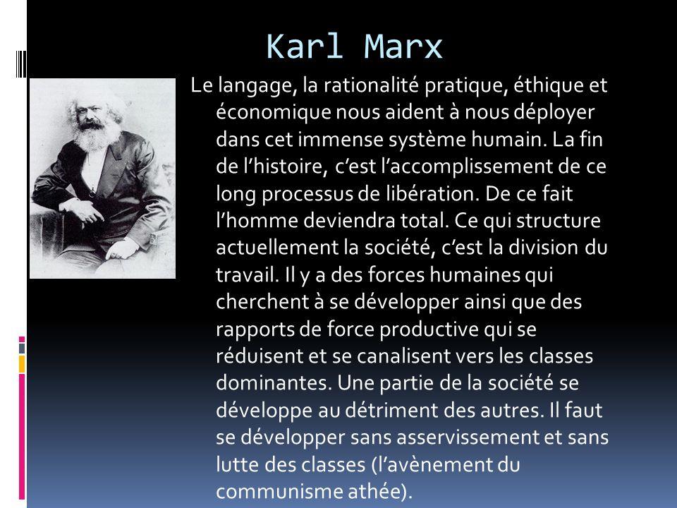 Karl Marx Le langage, la rationalité pratique, éthique et économique nous aident à nous déployer dans cet immense système humain. La fin de lhistoire,