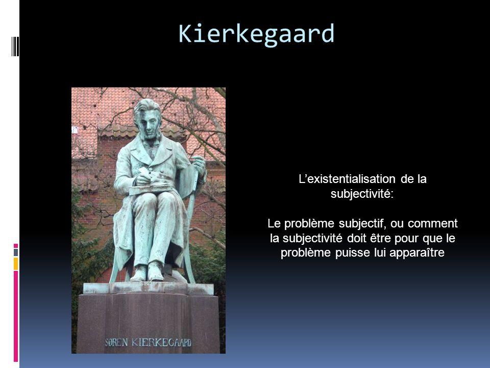 Kierkegaard Lexistentialisation de la subjectivité: Le problème subjectif, ou comment la subjectivité doit être pour que le problème puisse lui appara