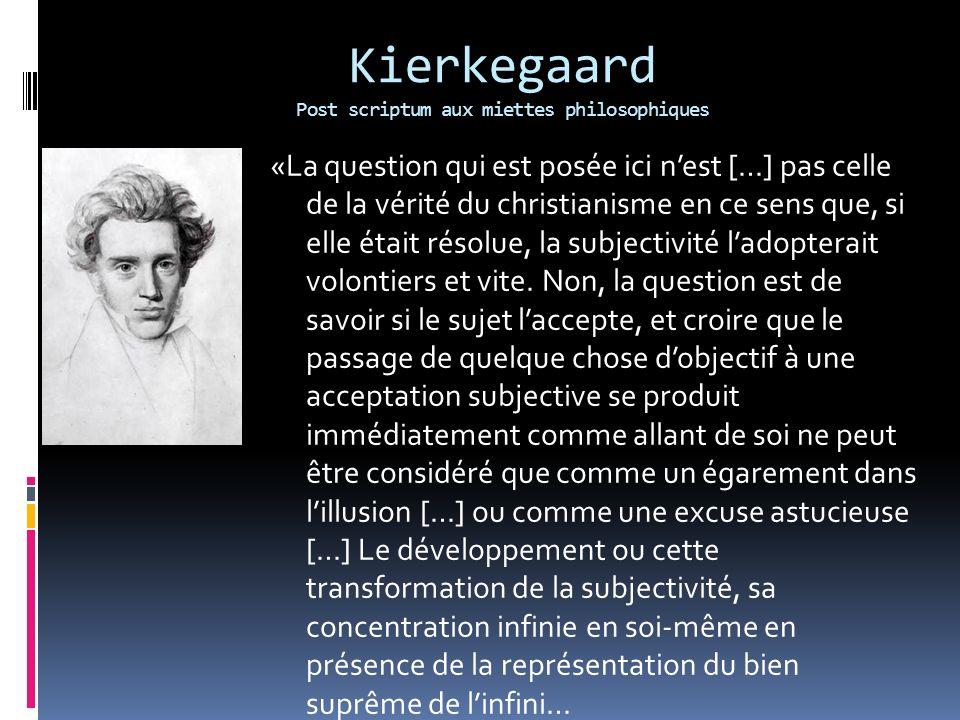 Kierkegaard Post scriptum aux miettes philosophiques «La question qui est posée ici nest […] pas celle de la vérité du christianisme en ce sens que, s